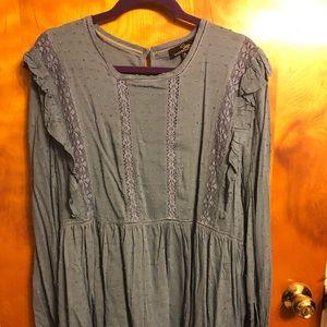 Blue rayon long sleeve tunic. Lace detail xl.